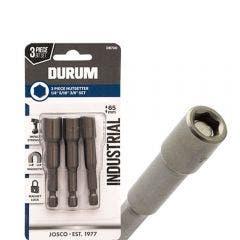 DURUM 1/4-3/8inch x 65mm Magnetic Power Nutsetter Set - 3 Piece