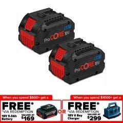 BOSCH 18V 2 x 8.0ah PROCORE18V Battery Kit 0615990M2E