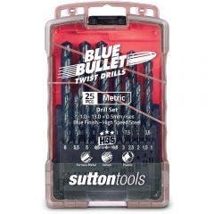 SUTTON 1-13mm Metric HSS-Blue Jobber Drill Bit Set - BLUE BULLET - 25 Piece
