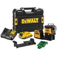 DEWALT 18V 2.0Ah 3x360 Degree Green Beam Multi-Line Laser Level Kit DCE089D1G18-XE