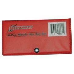 BONDHUS 10 Pce Metric Hex Key Wallet Set