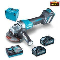 MAKITA 40V Max XGT Brushless 2 x 4.0Ah 125mm Paddle Switch Angle Grinder Kit GA029GM202