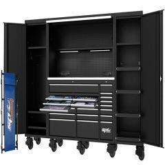 SP TOOLS 128inch Metric/SAE 708 pcs USA Sumo Series Workstation Tool Kit - Black/Chrome Handles SP50850