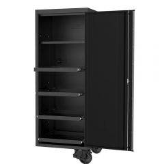 SP TOOLS 27inch USA Sumo Series Side Cabinet - 4 Roller Shelves & 1 Fixed Shelf - Black/Chrome SP44880