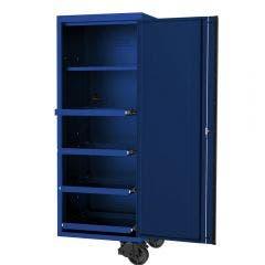 SP TOOLS 27inch USA Sumo Series Side Cabinet - 4 Roller Shelves & 1 Fixed Shelf - Blue/Black SP44880BL