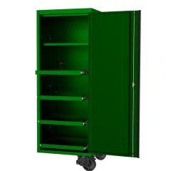 SP TOOLS 27inch USA Sumo Series Side Cabinet - 4 Roller Shelves & 1 Fixed Shelf - Green/Black SP44880G