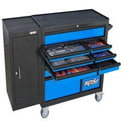 SP TOOLS 236 pcs Custom Series Roller Cabinet Tool Kit With Side Cabinet - Blue/Black SP50626BL