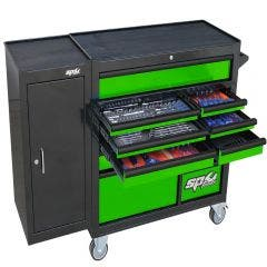 SP TOOLS 236 pcs Custom Series Roller Cabinet Tool Kit With Side Cabinet - Green/Black SP50626G