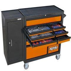 SP TOOLS 236 pcs Custom Series Roller Cabinet Tool Kit With Side Cabinet - Orange/Black SP50626OR