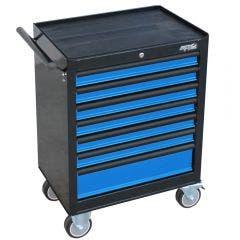 SP TOOLS 7 Drawer Custom Series Roller Cabinet - Blue/Black SP40104BL