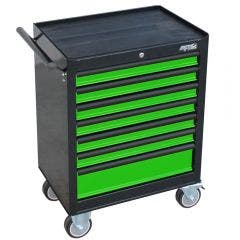 SP TOOLS 7 Drawer Custom Series Roller Cabinet - Green/Black SP40104G