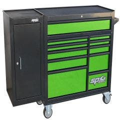 SP TOOLS 11 Drawer Custom Series Roller Cabinet w. Side Cabinet - Green/Black Handles - Customised Edition SP40160G