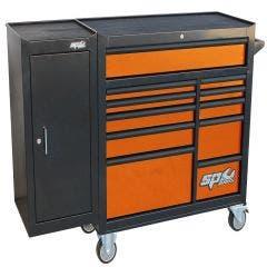 SP TOOLS 11 Drawer Custom Series Roller Cabinet w. Side Cabinet - Orange/Black Handles - Customised Edition SP40160OR