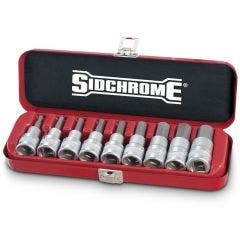 SIDCHROME 1/2inch SD AF 9 Pce 3/16inch-5/8inch Inhex Socket Set SCMT14465