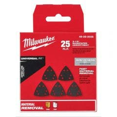 MILWAUKEE 25 piece OPEN-LOK 89mm Triangle Sand Paper Variety 49252025