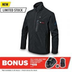 BOSCH 12V Soft Shell Heated Jacket Skin - Black 06188000DX