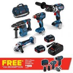 BOSCH 18V Brushless 4 Piece 2 x 5.0Ah Combo Kit 0.615.990.M19