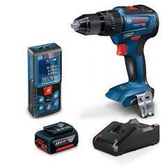 BOSCH 18V Brushless Hammer Drill & 40m Laser Distance Measurer 1 x 5.0Ah Combo Kit 0615990M5C