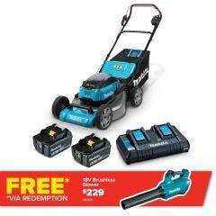 MAKITA 36V (18VX2) Brushless 2 x 6.0Ah 534mm Lawn Mower Kit DLM535PG2