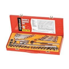 SUPATOOL 35 Pcs 1/2in Drive - Metric & Imperial Socket & Spanner Set S2035