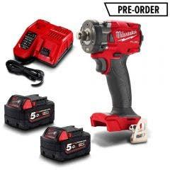 MILWAUKEE 18V FUEL™ 2 x 5.0Ah 1/2inch Compact Impact Wrench w. Friction Ring Kit M18FIW2F12-502C