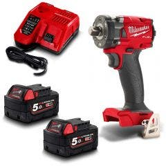 MILWAUKEE 18V FUEL™ 2 x 5.0Ah 1/2inch Compact Impact Wrench w. Pin Detent Kit M18FIW2P12-502C