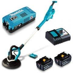 MAKITA 18V Brushless AWS 2 x 5.0Ah 225mm Drywall Sander Kit DSL801TUX2
