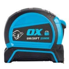 OX 8m x 25mm Double Locking Tape Measure OX-T505208