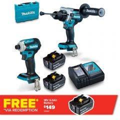 MAKITA 18V Brushless 2 Piece 2 x 5.0Ah Combo Kit DLX2411T