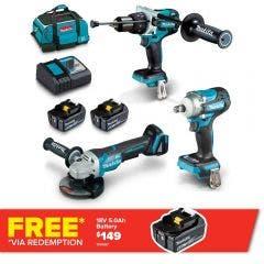 MAKITA 18V Brushless 3 Piece 2 x 5.0Ah Combo Kit DLX3150TX1