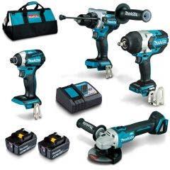 MAKITA 18V Brushless 4 Piece 2 x 5.0Ah Combo Kit DLX4144TX1