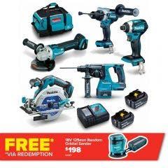 MAKITA 18V Brushless 5 Piece 2 x 5.0AH Combo Kit DLX5062TX1