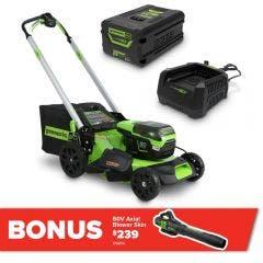 GREENWORKS 60V 1 x 6.0Ah 510mm Lawn Mower Kit 2516407AU
