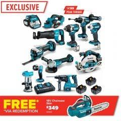 MAKITA 18V Brushless 12 Piece 3 x 5.0Ah Combo Kit DLX1201TX1
