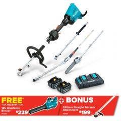 MAKITA 36V 2 x 5.0Ah Brushless Multi-Function Powerhead, Pole Saw & Hedge Trimmer Kit DUX60PSHPT2-B