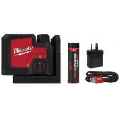 MILWAUKEE REDLITHIUM™ USB Rechargeable 3 Point Laser Kit - Green L43PL-301C