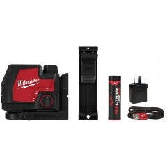 MILWAUKEE REDLITHIUM™ USB Rechargeable Cross Line Laser Kit - Green L4CLL-301C