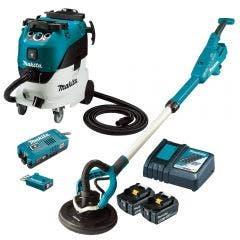 MAKITA 18V Brushless 2 x 5.0Ah Drywall Sander & M-Class Dust Extraction Combo Kit DSL801RT-VC42MX2