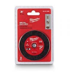 MILWAUKEE 75 x 1.0mm Steel & Stainless Cut Off Disc -  3 Piece