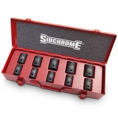 SIDCHROME 1/2inch SD 10Pce Metric 10 - 24mm Impact Socket Set XS410MT