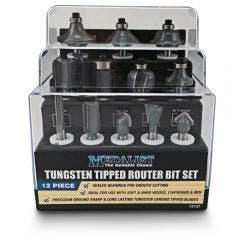 MEDALIST TCT Router Bit Set - 1/4inch Shank - 12 Piece
