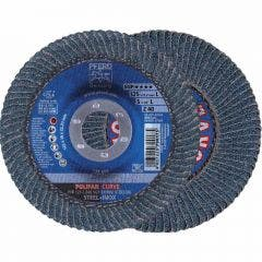 PFERD 125mm 40-Grit Zirconia Curved Flap Disc - POLIFAN STEELOX