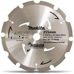 MAKITA 255mm 6T PCD Circular Saw Blade for Fibre Cement Cutting - SPECIALIZED