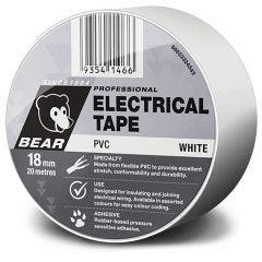 BEAR 18mm x 20m Insulation Electrical Tape - White 66623324545