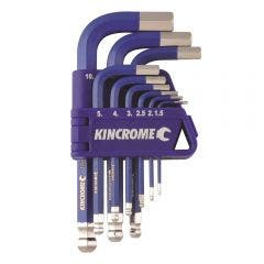 KINCROME Ball Joint Hex Key & Wrench Set Short - 9 Piece K5143