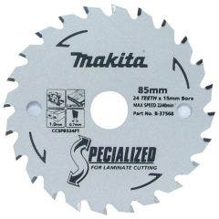 MAKITA 85mm 24T TCT Circular Saw Blade for Laminate Cutting - SPECIALIZED