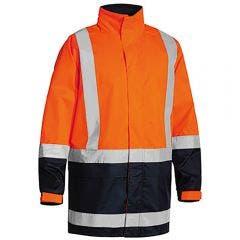 BISLEY Two Tone Taped Hi Vis Rain Shell Jacket Orange/Navy BJ6966TORGNVY