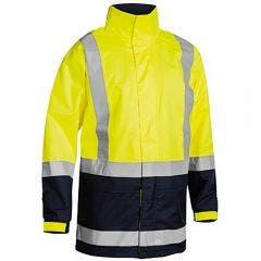 BISLEY Two Tone Taped Hi Vis Rain Shell Jacket Yellow/Navy BJ6966TYELNVY