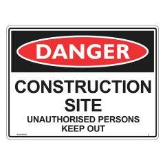 WILCOX SAFETY Metal Danger Construction Site 600mm x 450mm