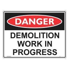 WILCOX SAFETY Danger Demolition Work In Progress Sign 600mm x 450mm